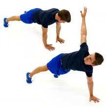 full plank with rotation